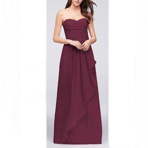 Strapless Crinkle Chiffon Cascade Skirt Dress